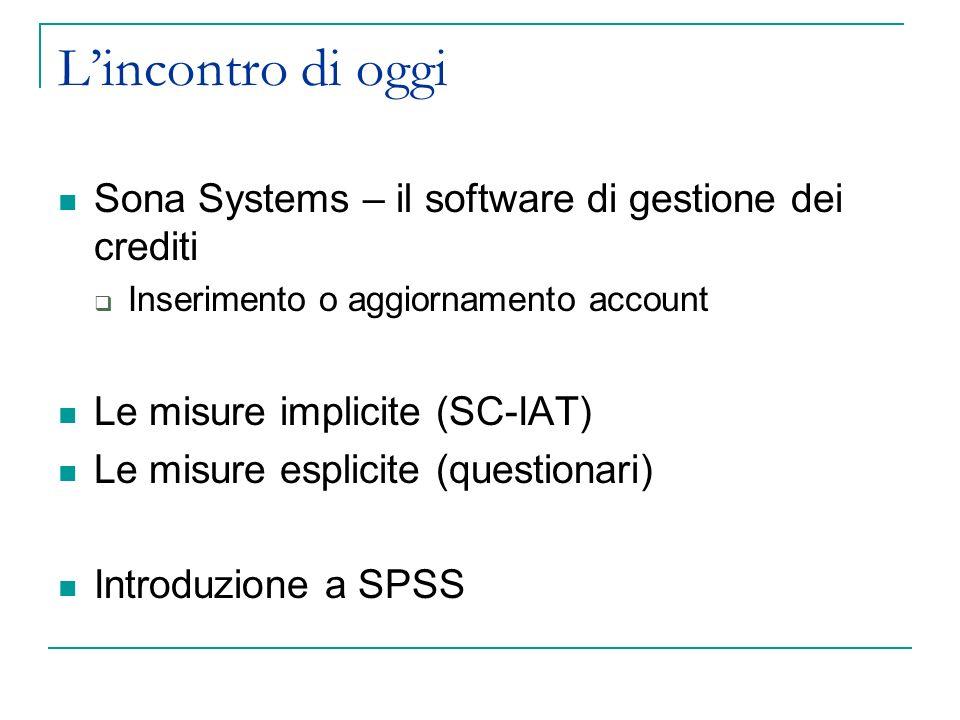 Lincontro di oggi Sona Systems – il software di gestione dei crediti Inserimento o aggiornamento account Le misure implicite (SC-IAT) Le misure esplic