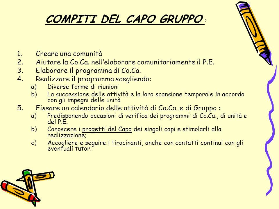 COMPITI DELLA CO.CA.sotto la responsabilità del capo gruppo 1.Elaborare il P.E.