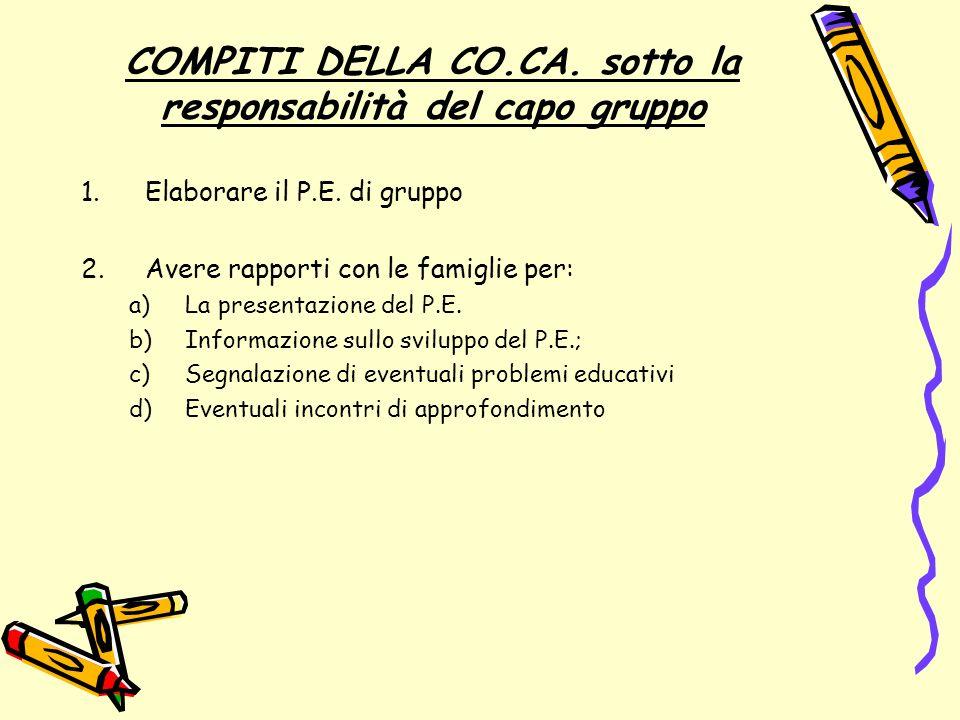 Al Capo Gruppo spetta la responsabilità primaria di stimolare la C0.Ca.