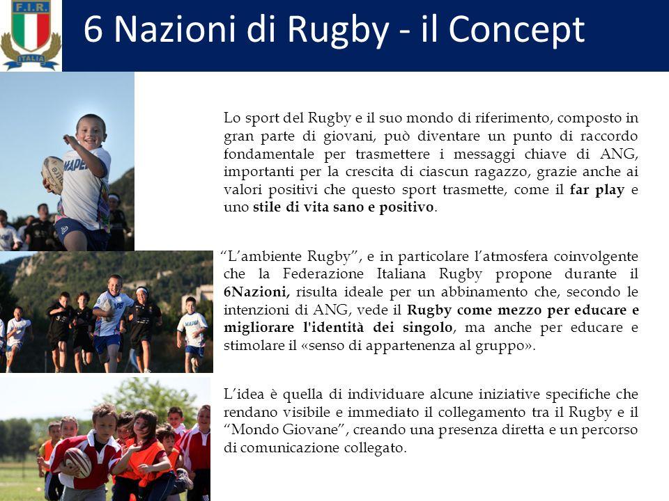 6 Nazioni di Rugby - il Concept Lo sport del Rugby e il suo mondo di riferimento, composto in gran parte di giovani, può diventare un punto di raccordo fondamentale per trasmettere i messaggi chiave di ANG, importanti per la crescita di ciascun ragazzo, grazie anche ai valori positivi che questo sport trasmette, come il far play e uno stile di vita sano e positivo.