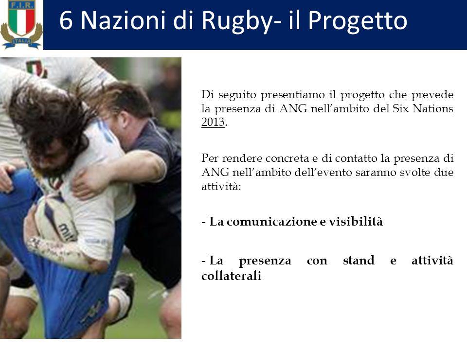 Di seguito presentiamo il progetto che prevede la presenza di ANG nellambito del Six Nations 2013.