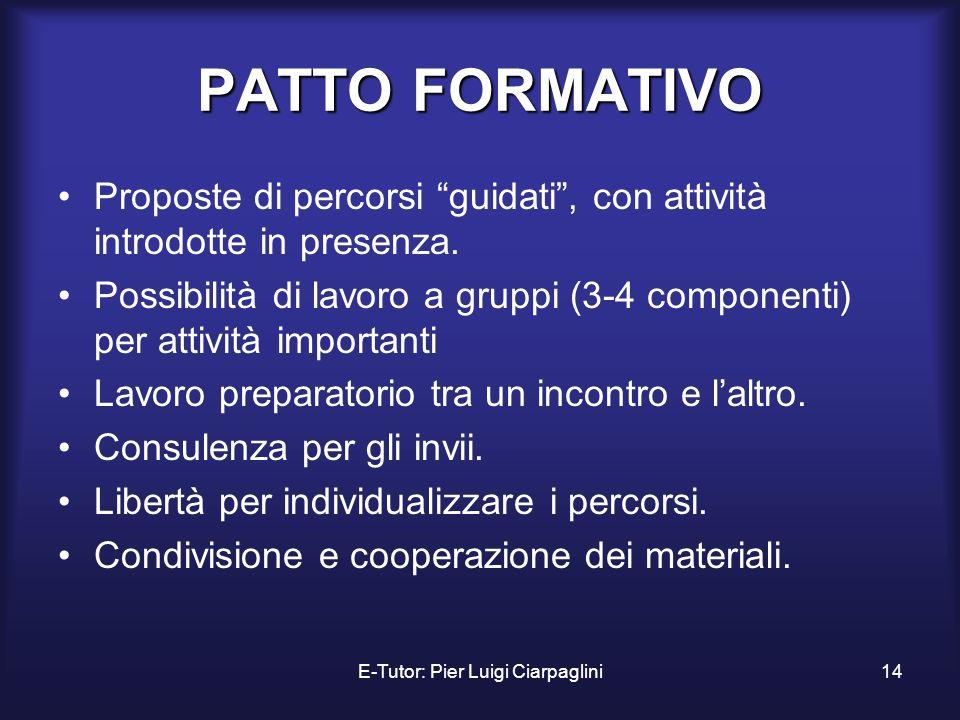 E-Tutor: Pier Luigi Ciarpaglini14 PATTO FORMATIVO Proposte di percorsi guidati, con attività introdotte in presenza. Possibilità di lavoro a gruppi (3