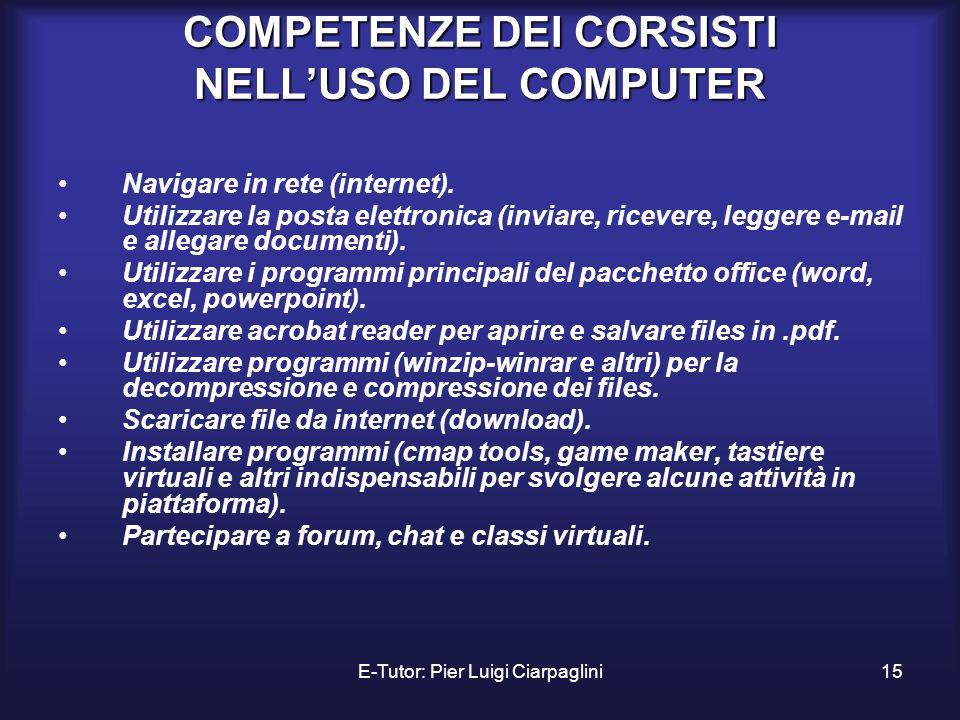E-Tutor: Pier Luigi Ciarpaglini15 COMPETENZE DEI CORSISTI NELLUSO DEL COMPUTER Navigare in rete (internet). Utilizzare la posta elettronica (inviare,