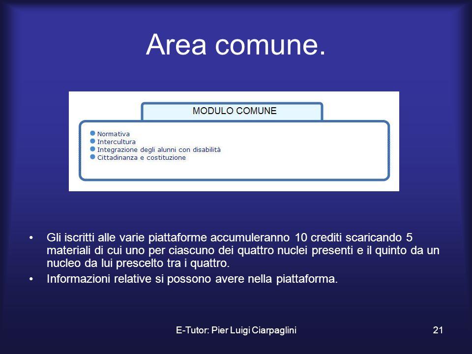 E-Tutor: Pier Luigi Ciarpaglini21 Area comune. Gli iscritti alle varie piattaforme accumuleranno 10 crediti scaricando 5 materiali di cui uno per cias