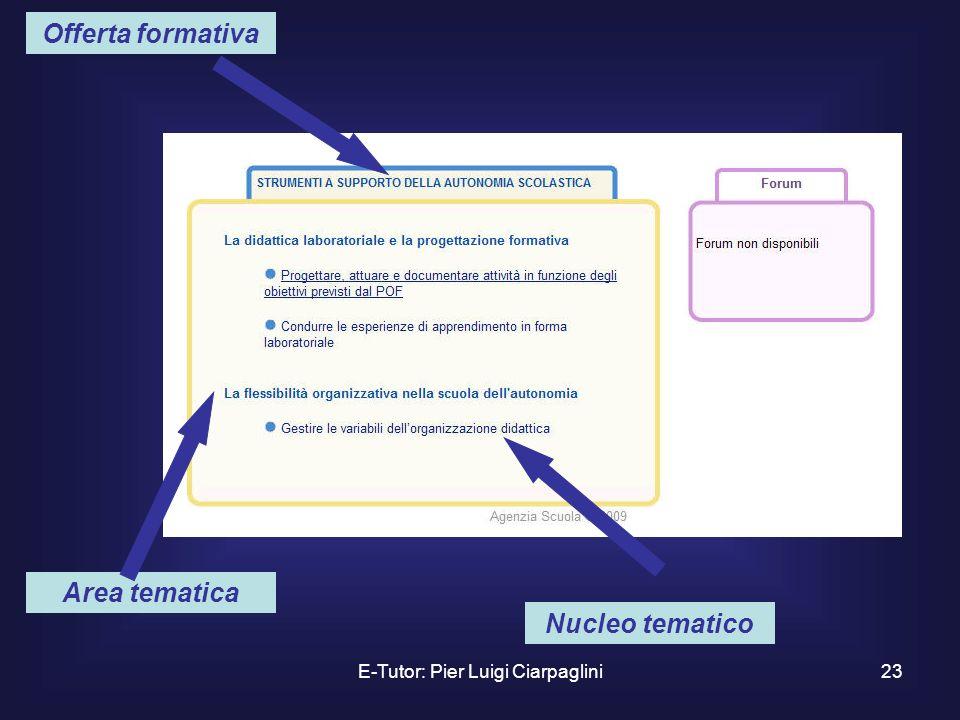 E-Tutor: Pier Luigi Ciarpaglini23 Area tematica Offerta formativa Nucleo tematico