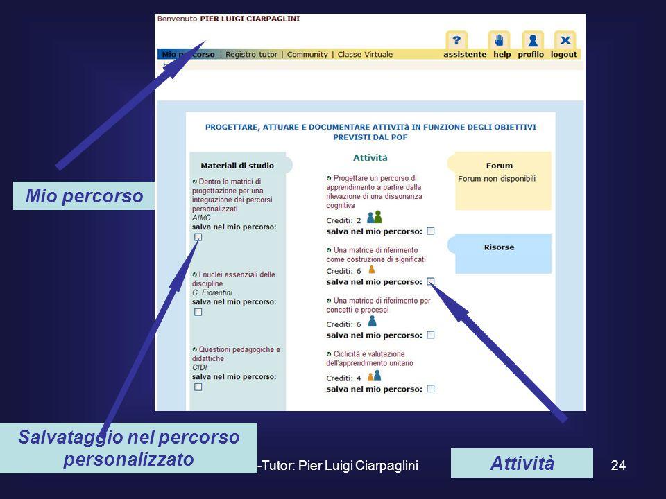 E-Tutor: Pier Luigi Ciarpaglini24 Mio percorso Salvataggio nel percorso personalizzato Attività