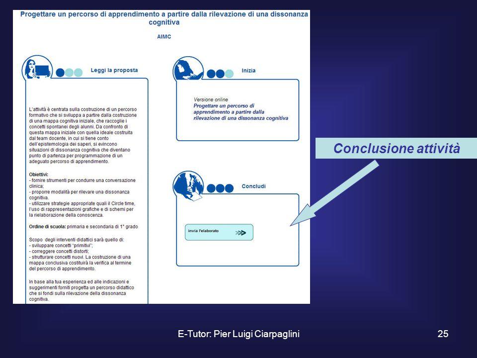 E-Tutor: Pier Luigi Ciarpaglini25 Conclusione attività