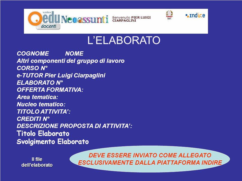 E-Tutor: Pier Luigi Ciarpaglini26 COGNOME NOME Altri componenti del gruppo di lavoro CORSO N° e-TUTOR Pier Luigi Ciarpaglini ELABORATO N° OFFERTA FORM