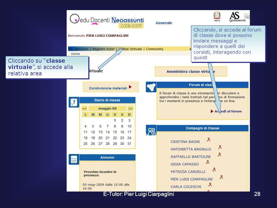 E-Tutor: Pier Luigi Ciarpaglini28 Cliccando su classe virtuale, si accede alla relativa area Cliccando, si accede al forum di classe dove si possono i