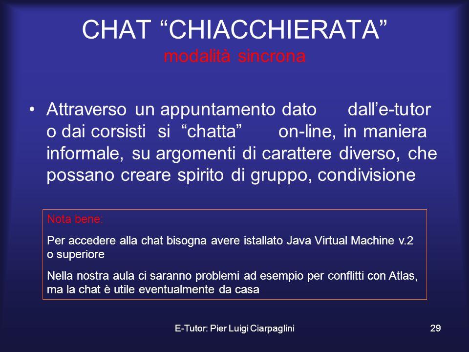 E-Tutor: Pier Luigi Ciarpaglini29 CHAT CHIACCHIERATA modalità sincrona Attraverso un appuntamento dato dalle-tutor o dai corsisti si chatta on-line, i