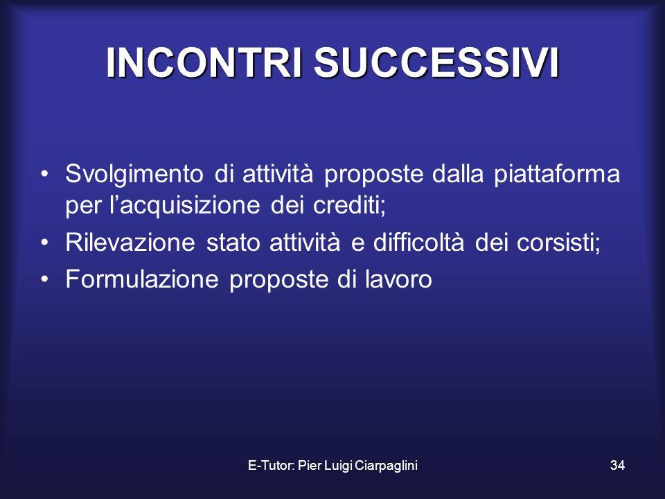 E-Tutor: Pier Luigi Ciarpaglini34 INCONTRI SUCCESSIVI Svolgimento di attività proposte dalla piattaforma per lacquisizione dei crediti; Rilevazione st