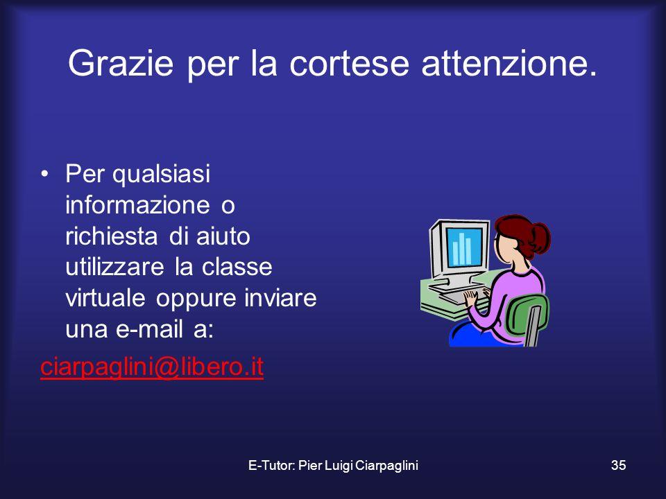 E-Tutor: Pier Luigi Ciarpaglini35 Grazie per la cortese attenzione. Per qualsiasi informazione o richiesta di aiuto utilizzare la classe virtuale oppu