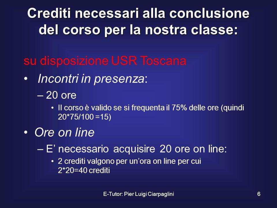 E-Tutor: Pier Luigi Ciarpaglini6 Crediti necessari alla conclusione del corso per la nostra classe: su disposizione USR Toscana Incontri in presenza: