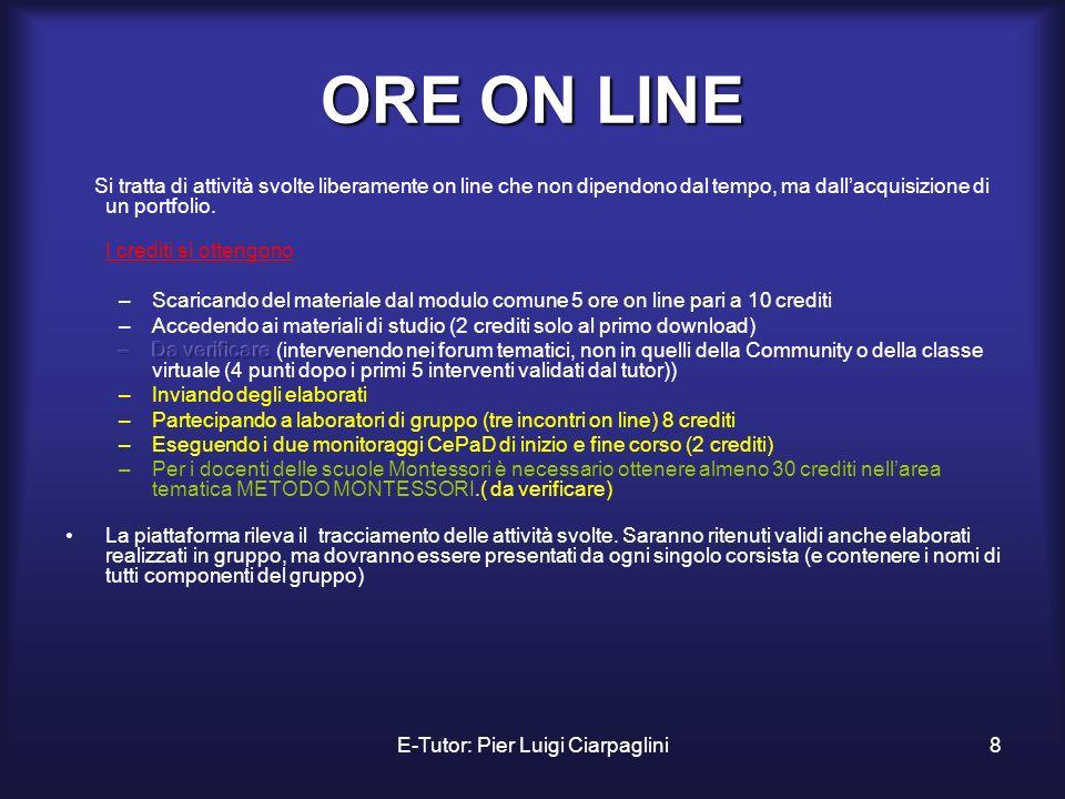 E-Tutor: Pier Luigi Ciarpaglini8 ORE ON LINE