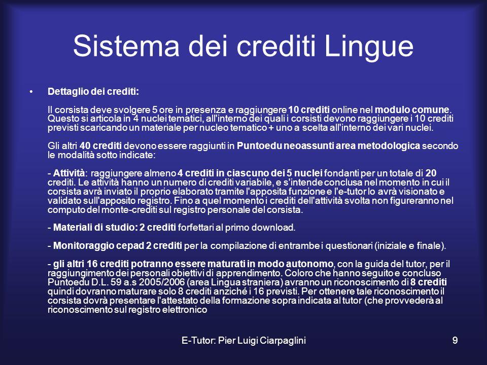 E-Tutor: Pier Luigi Ciarpaglini9 Sistema dei crediti Lingue Dettaglio dei crediti: Il corsista deve svolgere 5 ore in presenza e raggiungere 10 credit