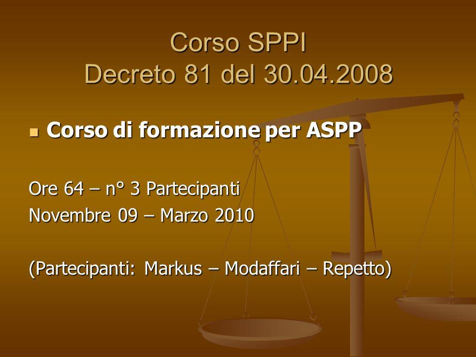 Corso SPPI Decreto 81 del 30.04.2008 Corso di formazione per ASPP Corso di formazione per ASPP Ore 64 – n° 3 Partecipanti Novembre 09 – Marzo 2010 (Partecipanti: Markus – Modaffari – Repetto)