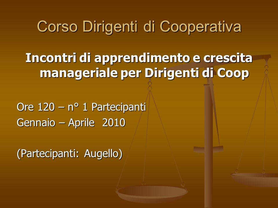 Corso Dirigenti di Cooperativa Incontri di apprendimento e crescita manageriale per Dirigenti di Coop Ore 120 – n° 1 Partecipanti Gennaio – Aprile 2010 (Partecipanti: Augello)