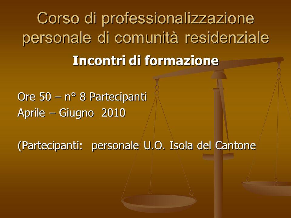 Corso di professionalizzazione personale di comunità residenziale Incontri di formazione Ore 50 – n° 8 Partecipanti Aprile – Giugno 2010 (Partecipanti: personale U.O.