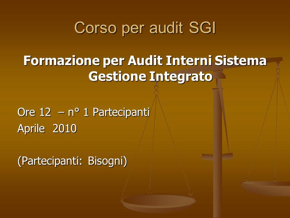Corso per audit SGI Formazione per Audit Interni Sistema Gestione Integrato Ore 12 – n° 1 Partecipanti Aprile 2010 (Partecipanti: Bisogni)