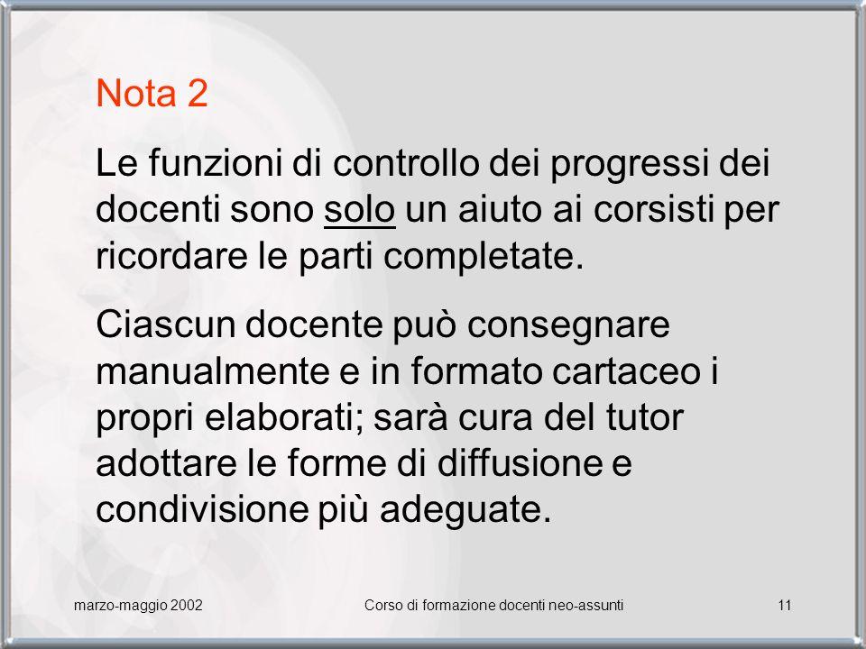 marzo-maggio 2002Corso di formazione docenti neo-assunti11 Nota 2 Le funzioni di controllo dei progressi dei docenti sono solo un aiuto ai corsisti per ricordare le parti completate.