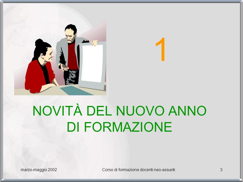 marzo-maggio 2002Corso di formazione docenti neo-assunti3 NOVITÀ DEL NUOVO ANNO DI FORMAZIONE 1