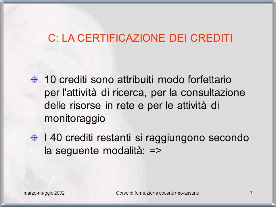 marzo-maggio 2002Corso di formazione docenti neo-assunti8 10 crediti per ogni corso svolto, completo degli esercizi interattivi o dell elaborato 5 crediti per ogni attività proposta all interno di un laboratorio, fino a un massimo di 20 crediti.