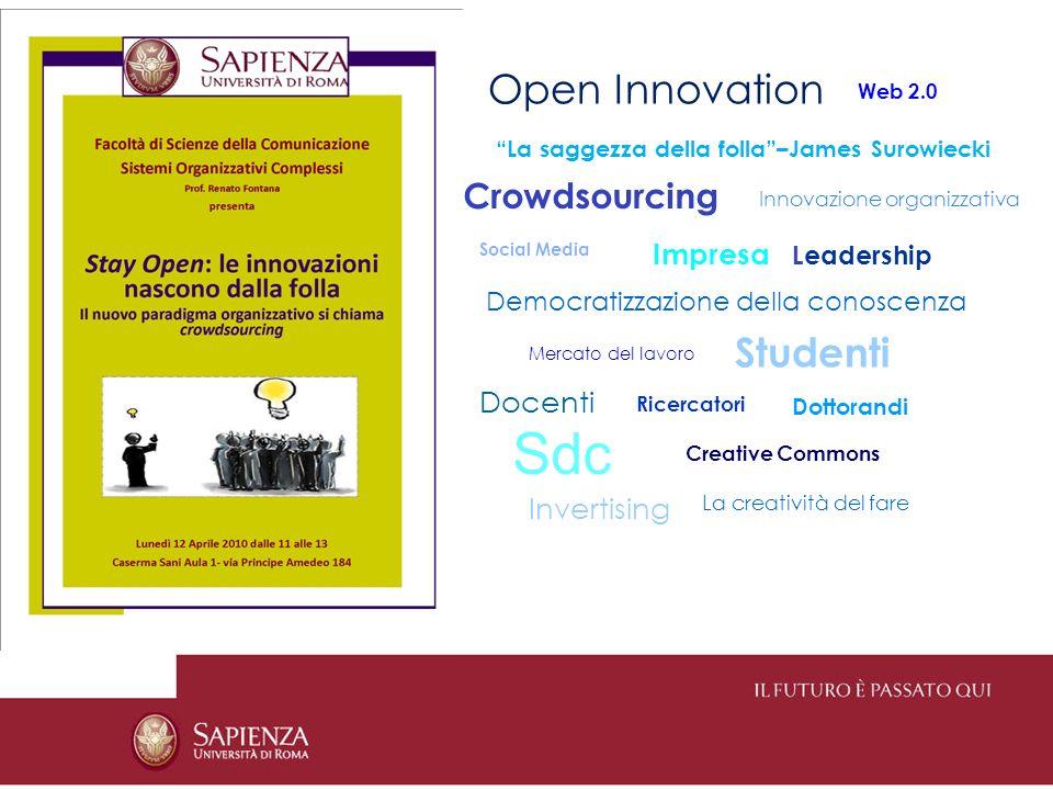Open Innovation La saggezza della folla–James Surowiecki Crowdsourcing Web 2.0 Innovazione organizzativa Social Media Impresa Leadership Democratizzazione della conoscenza Studenti Mercato del lavoro Docenti Ricercatori Dottorandi Invertising Creative Commons Sdc La creatività del fare