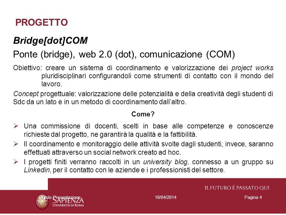 PROGETTO Bridge[dot]COM Ponte (bridge), web 2.0 (dot), comunicazione (COM) Obiettivo: creare un sistema di coordinamento e valorizzazione dei project