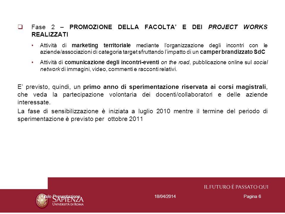 Fase 2 – PROMOZIONE DELLA FACOLTA E DEI PROJECT WORKS REALIZZATI Attività di marketing territoriale mediante lorganizzazione degli incontri con le azi