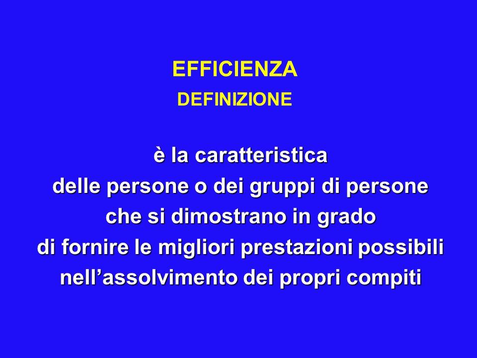 EFFICIENZA DEFINIZIONE è la caratteristica delle persone o dei gruppi di persone che si dimostrano in grado di fornire le migliori prestazioni possibili nellassolvimento dei propri compiti