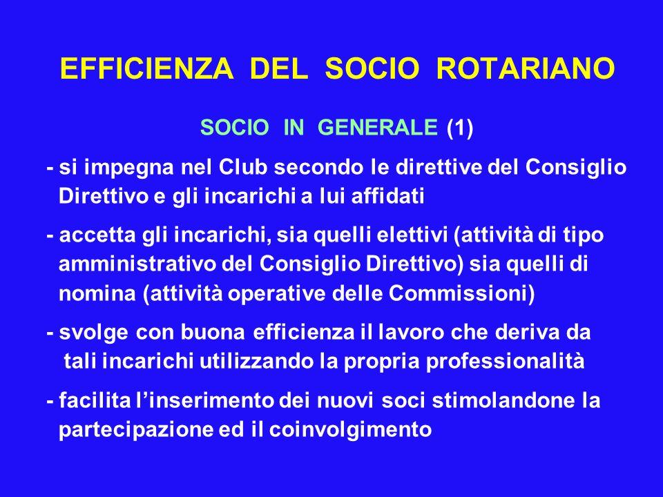 EFFICIENZA DEL SOCIO ROTARIANO SOCIO IN GENERALE (1) - si impegna nel Club secondo le direttive del Consiglio Direttivo e gli incarichi a lui affidati
