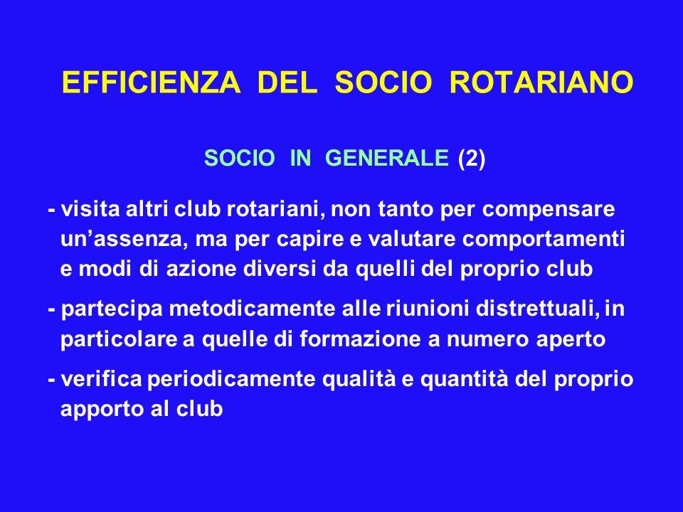 EFFICIENZA DEL SOCIO ROTARIANO SOCIO IN GENERALE (2) - visita altri club rotariani, non tanto per compensare unassenza, ma per capire e valutare compo