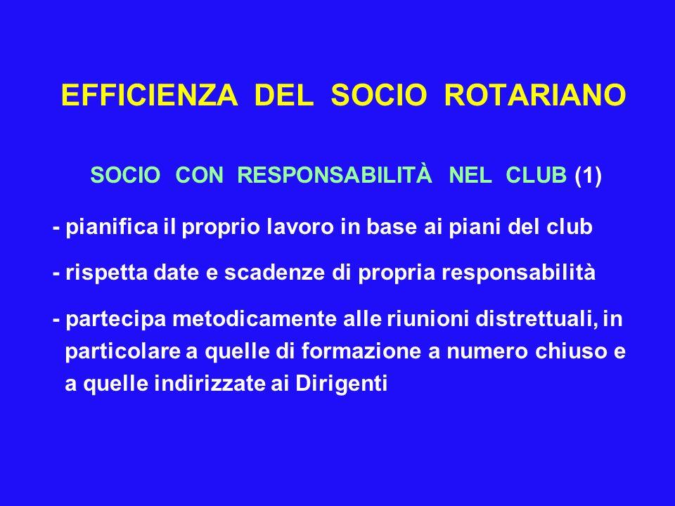 EFFICIENZA DEL SOCIO ROTARIANO SOCIO CON RESPONSABILITÀ NEL CLUB (1) - pianifica il proprio lavoro in base ai piani del club - rispetta date e scadenz