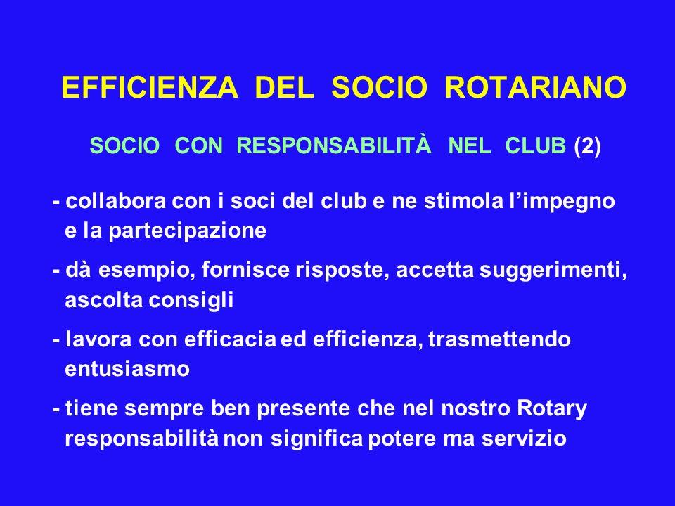 EFFICIENZA DEL SOCIO ROTARIANO SOCIO CON RESPONSABILITÀ NEL CLUB (2) - collabora con i soci del club e ne stimola limpegno e la partecipazione - dà es