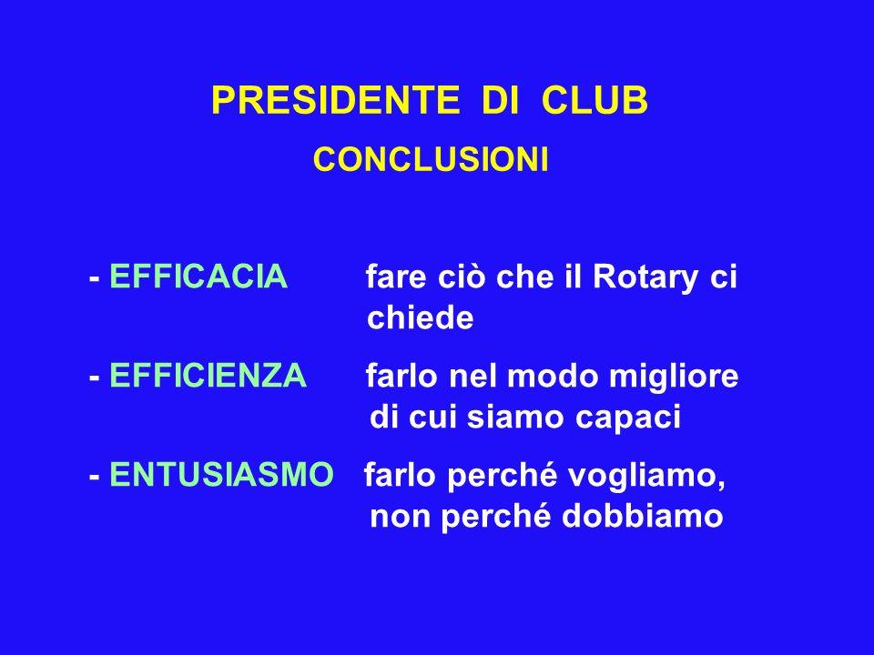 PRESIDENTE DI CLUB CONCLUSIONI - EFFICACIA fare ciò che il Rotary ci chiede - EFFICIENZA farlo nel modo migliore di cui siamo capaci - ENTUSIASMO farlo perché vogliamo, non perché dobbiamo