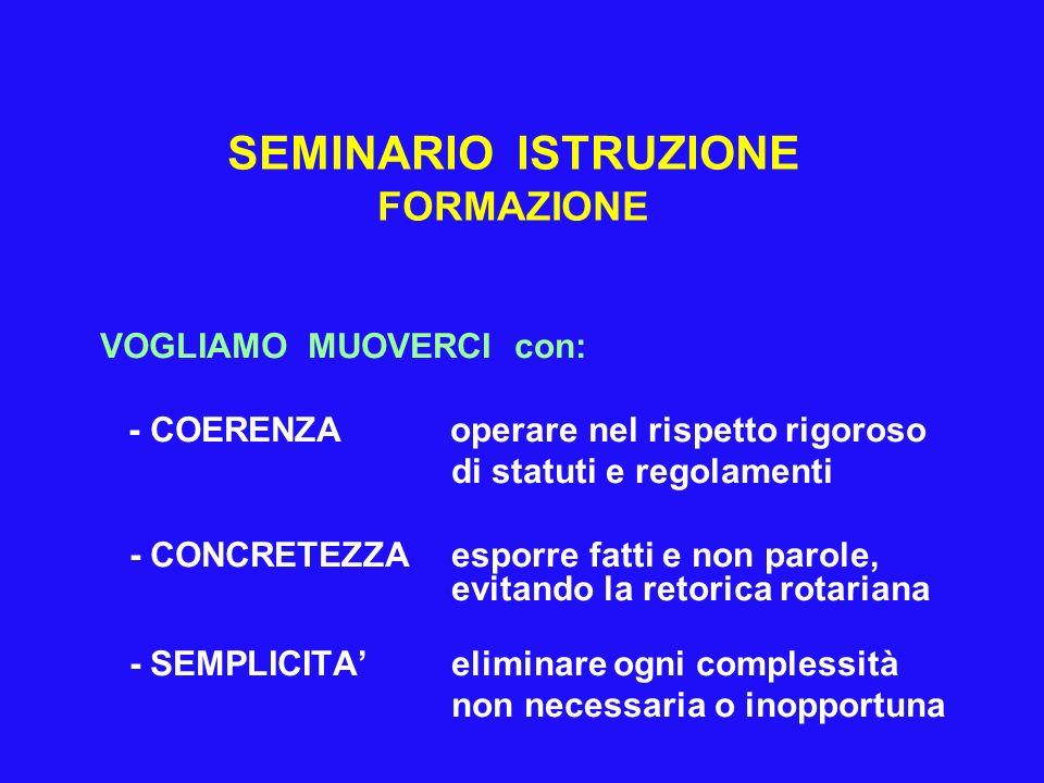 SEMINARIO ISTRUZIONE FORMAZIONE VOGLIAMO MUOVERCI con: - COERENZA operare nel rispetto rigoroso di statuti e regolamenti - CONCRETEZZA esporre fatti e