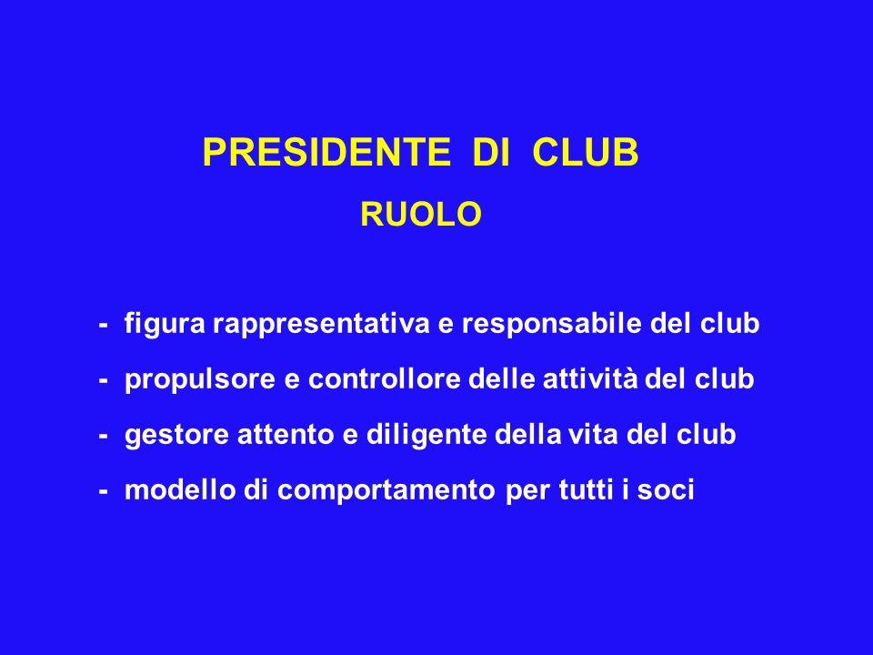 PRESIDENTE DI CLUB RUOLO - figura rappresentativa e responsabile del club - propulsore e controllore delle attività del club - gestore attento e diligente della vita del club - modello di comportamento per tutti i soci