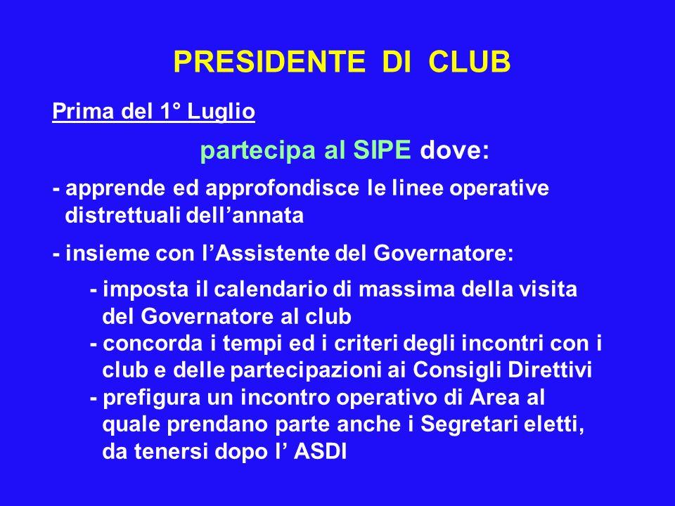 PRESIDENTE DI CLUB Prima del 1° Luglio partecipa al SIPE dove: - apprende ed approfondisce le linee operative distrettuali dellannata - insieme con lA