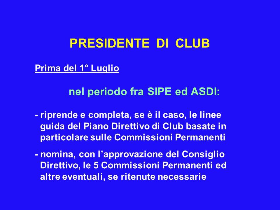 PRESIDENTE DI CLUB Prima del 1° Luglio nel periodo fra SIPE ed ASDI: - riprende e completa, se è il caso, le linee guida del Piano Direttivo di Club b