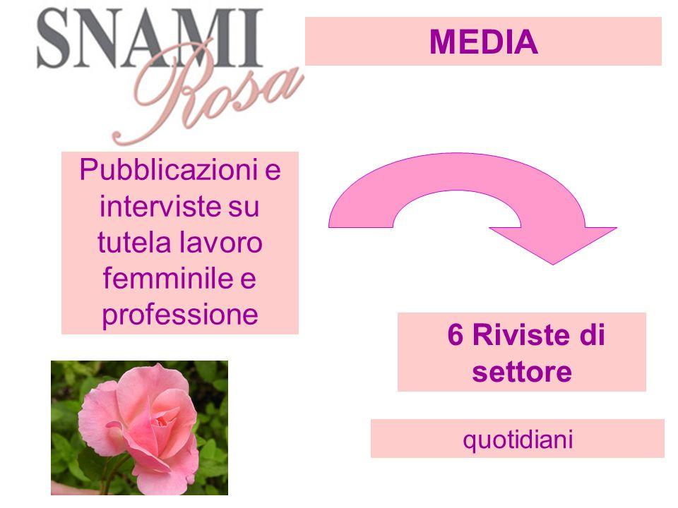 Pubblicazioni e interviste su tutela lavoro femminile e professione 6 Riviste di settore quotidiani MEDIA
