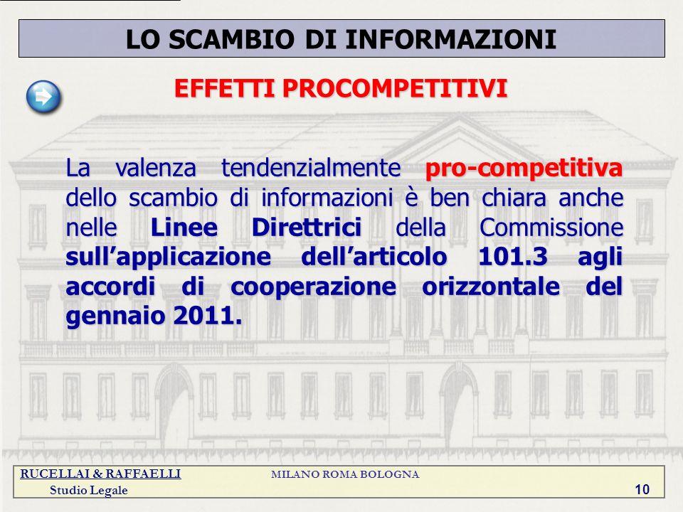 RUCELLAI & RAFFAELLI MILANO ROMA BOLOGNA Studio Legale 10 LO SCAMBIO DI INFORMAZIONI EFFETTI PROCOMPETITIVI La valenza tendenzialmente pro-competitiva