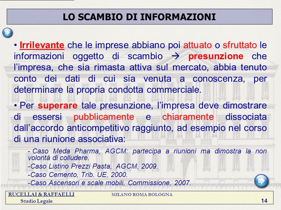 RUCELLAI & RAFFAELLI MILANO ROMA BOLOGNA Studio Legale 14 Irrilevante che le imprese abbiano poi attuato o sfruttato le informazioni oggetto di scambi
