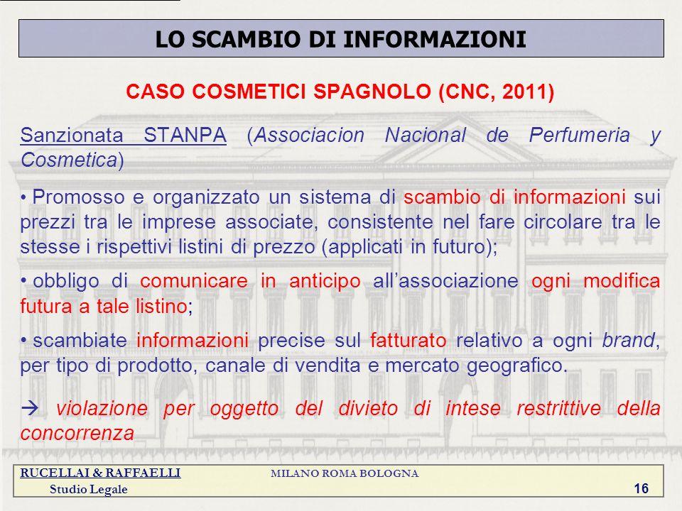RUCELLAI & RAFFAELLI MILANO ROMA BOLOGNA Studio Legale 16 CASO COSMETICI SPAGNOLO (CNC, 2011) Sanzionata STANPA (Associacion Nacional de Perfumeria y