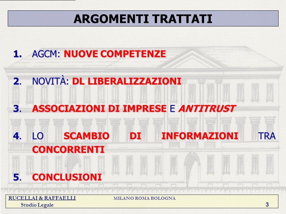 RUCELLAI & RAFFAELLI MILANO ROMA BOLOGNA Studio Legale 3 1.AGCM: NUOVE COMPETENZE 2.NOVITÀ: DL LIBERALIZZAZIONI 3.ASSOCIAZIONI DI IMPRESE E ANTITRUST