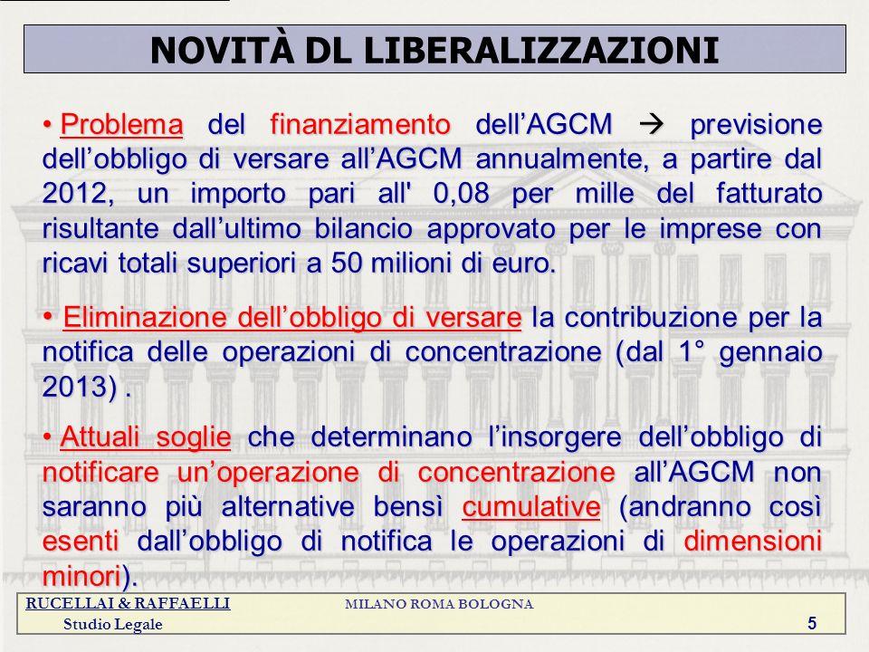 RUCELLAI & RAFFAELLI MILANO ROMA BOLOGNA Studio Legale 5 Problema del finanziamento dellAGCM previsione dellobbligo di versare allAGCM annualmente, a