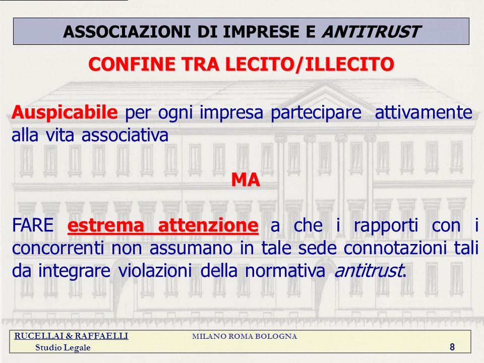 RUCELLAI & RAFFAELLI MILANO ROMA BOLOGNA Studio Legale 8 CONFINE TRA LECITO/ILLECITO ASSOCIAZIONI DI IMPRESE E ANTITRUST Auspicabile per ogni impresa