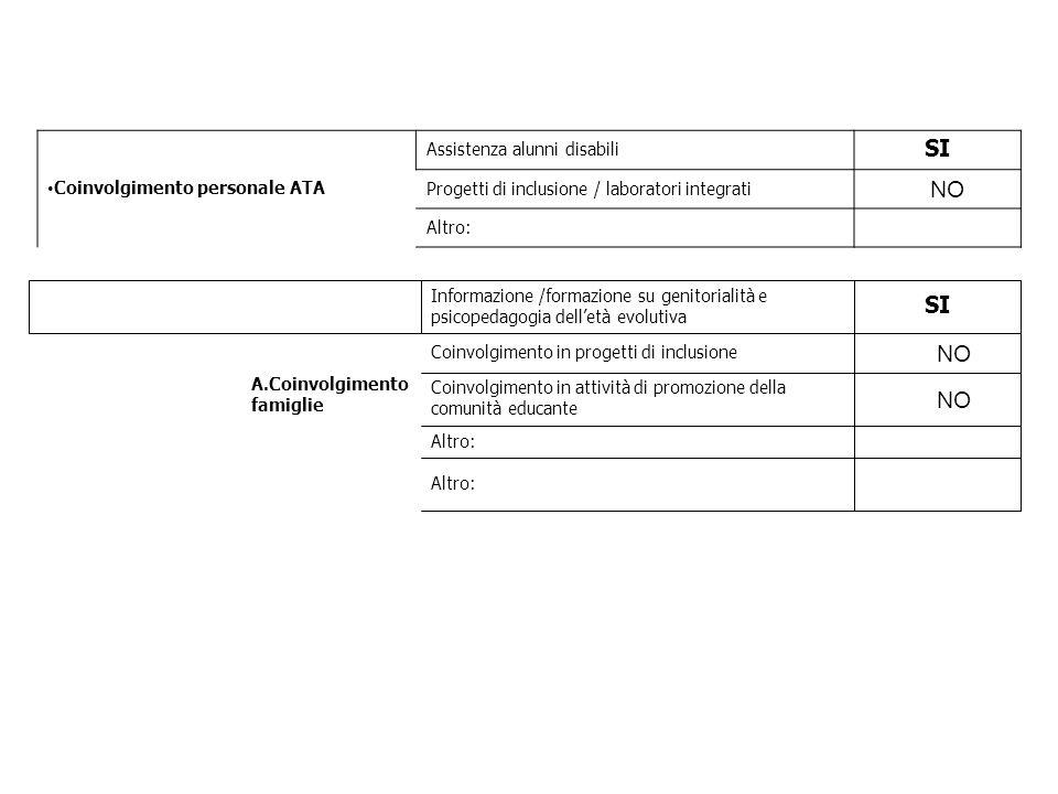 Coinvolgimento personale ATA Assistenza alunni disabili SI Progetti di inclusione / laboratori integrati NO Altro: A.Coinvolgimento famiglie Informazi