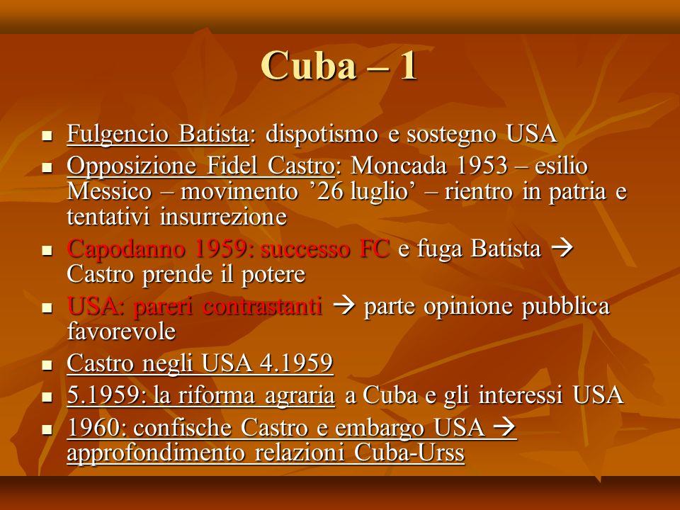Cuba – 1 Fulgencio Batista: dispotismo e sostegno USA Fulgencio Batista: dispotismo e sostegno USA Opposizione Fidel Castro: Moncada 1953 – esilio Mes