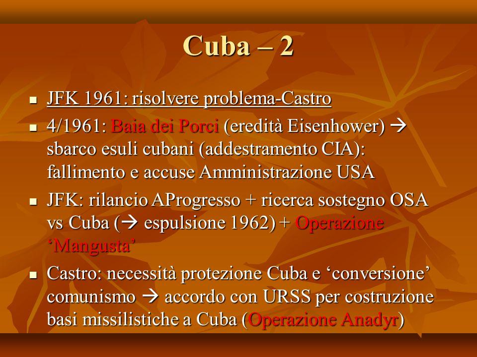 Cuba – 2 JFK 1961: risolvere problema-Castro JFK 1961: risolvere problema-Castro 4/1961: Baia dei Porci (eredità Eisenhower) sbarco esuli cubani (adde