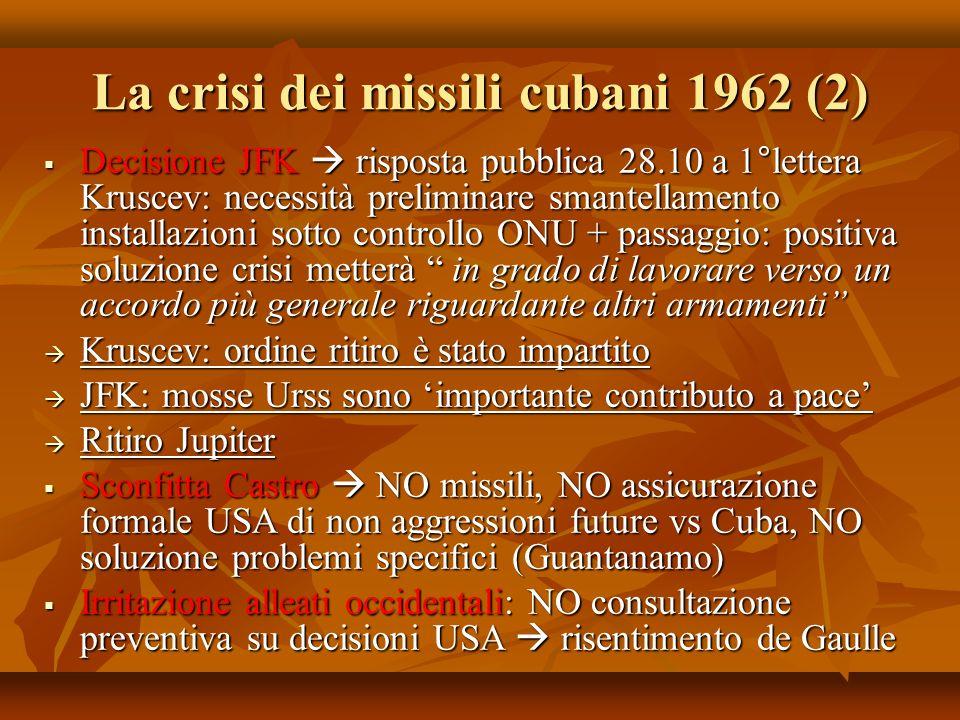 La crisi dei missili cubani 1962 (2) Decisione JFK risposta pubblica 28.10 a 1°lettera Kruscev: necessità preliminare smantellamento installazioni sot